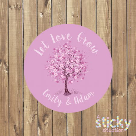 Personalised 'Let Love Grow' Stickers - Cherry Blossom Design